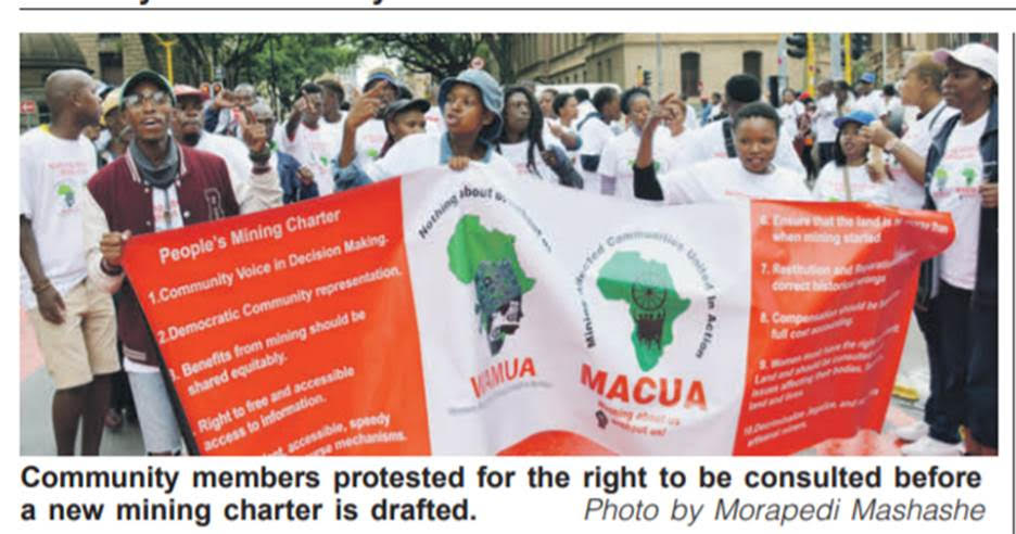 Mining Affected Communities to march to DMRE Offices in Pretoria on Friday 31 January (10H00 to 13H00)